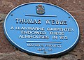 Blue plaque on the Webbe Almshouses, Copse Cross St. - geograph.org.uk - 639291.jpg