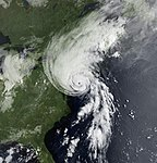 Satellite image of Hurricane Bob on August 19, 1991