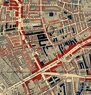 "Charles Booth (social reformer) - Part of Booth's map of Whitechapel 1889. The red areas are ""well-to-do""; the black areas are ""semi-criminal""."