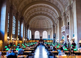Boston Public Library - Reading Room at McKim Building in 2013