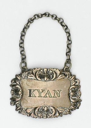 John Emes - Silver bottle ticket (Kyan) by John Emes, Los Angeles County Museum of Art, circa 1780-1810
