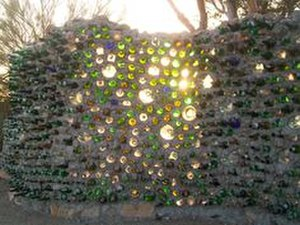 Slab City, California - Bottle wall at East Jesus