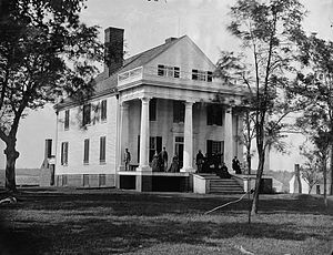 John Botts - Botts's home in Culpeper, Virginia, Botts and family on porch, 1863.