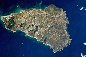 Tenedos - Satellite picture of the island