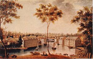 Bass Otis - Brandywine flour mills painted by Bass Otis about 1840