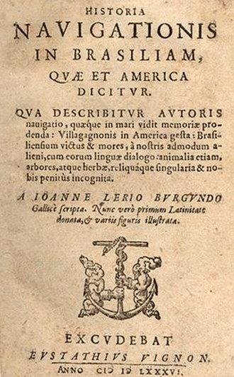 Jean de Léry - Title page of the Latin translation of de Léry's book, Historia Navigationis in Brasiliam, quae et America Dicitur (History of a Voyage to the Land of Brazil, Also Called America).