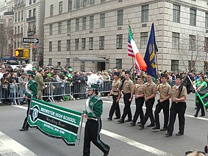 Brewster High School (Brewster, New York) - Color guard marching in Manhattan