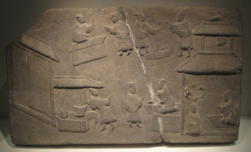 Depiction of a marketplace, Han dynasty Brick relief depicting a market scene.jpg
