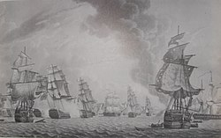 View of the Close of the Action Between the British and French Fleets, off Port L'Orient on the 23rd of June 1795, disegno di Robert Dodd