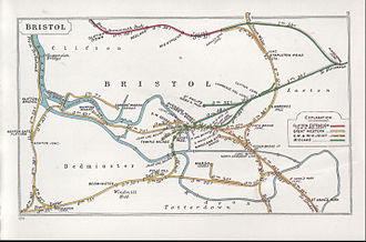 Bristol Temple Meads railway station - A 1911 Railway Clearing House junction diagram showing railways around Bristol