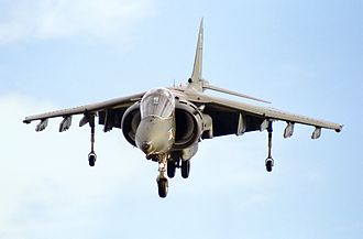 British Aerospace Harrier II - Harrier GR5 during a display at Bournemouth Airport, 1990