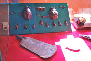 Handcrafts and folk art in Michoacán - Copper and bronze implements on display at the site museum of Tzintzuntzan