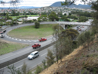 Brooker Highway - The Domain Highway junction at Cornelian Bay