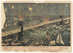"""Ein Bild mit dem Titel """"Bird's-Eye View of the Great New York and Brooklyn Bridge and Grand Display of Fire Works on Opening Night"""""""