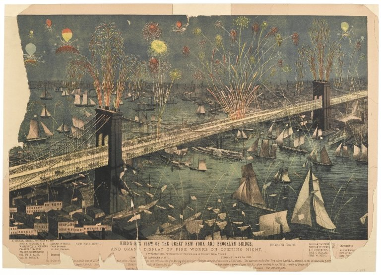 Brooklyn Museum - Bird's-Eye View of the Great New York and Brooklyn Bridge and Grand Display of Fire Works on Opening Night