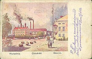 "Okocim Brewery - Okocim brewery on a postcard from 1900. The caption lists, from left to right ""Brewery. Cooling. Okocim""."