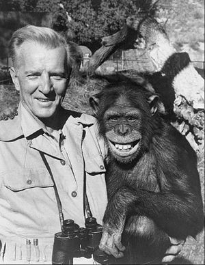 Bruce Bennett - Bennett with Judy the chimp on Daktari, 1968
