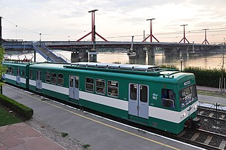 Rákóczi Bridge - Müpa - Nemzeti Színház station on the Csepel HÉV line, with Rákóczi Bridge in the background