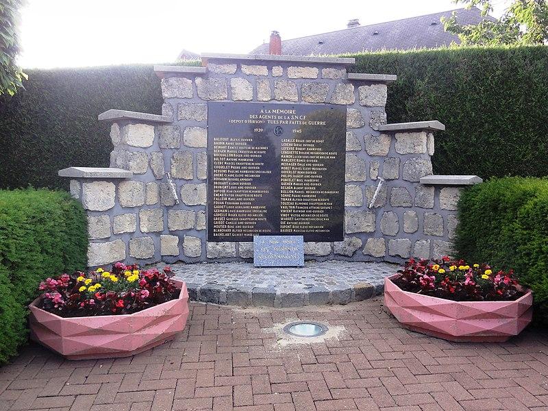 Buire (Aisne) mémorial de guerre agents de la SNCF