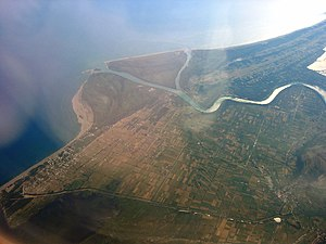 Ada Bojana - Aerial photograph of the Bojana River delta with Bojana Island (Ada Bojana)