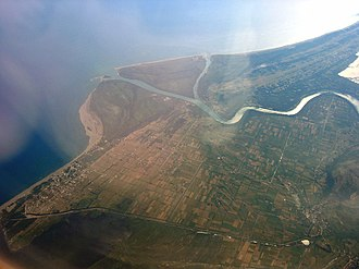 Bojana (river) - Aerial view the river's mouth, where it flows into the Adriatic.