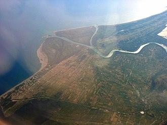 Ada Bojana - Aerial photograph of the Bojana River delta with Bojana Island (Ada Bojana)