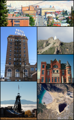 Clockwise, left to right: View of uptown Butte from west; Our Lady of the Rockies; Curtis Music Hall; aerial view of the Berkeley Pit; mine framehead; and the Finlen Hotel.