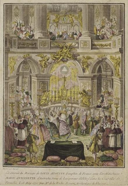 Marriage of Marie Antoinette with Louis-Auguste celebrated in the Royal Chapel of Versailles by the Archbishop-Duke of Reims on May 16, 1770 Ceremonie du mariage du Dauphin de France Louis-Auguste, futur Louis XVI.jpg