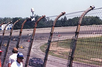 Firestone Indy 400 - The pace car leads the field to the start of the 1988 Michigan 500.