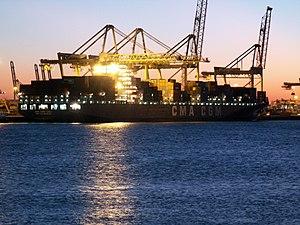 CMA CGM Tosca IMO 9299783 by Night, Port of Rotterdam, Holland 29-Jan-2006.jpg
