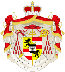 Coat of arms of Hieronymus von Colloredo, as Prince-Archbishop of Salzburg. (Source: Wikimedia)