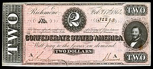 Judah P. Benjamin - Benjamin on the 1864 Confederate $2 banknote.