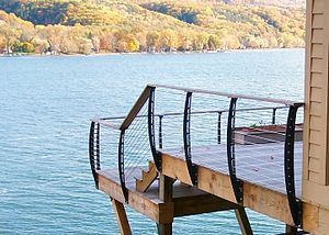 Cable railings - Cable railing on residential deck overlooking a Lake