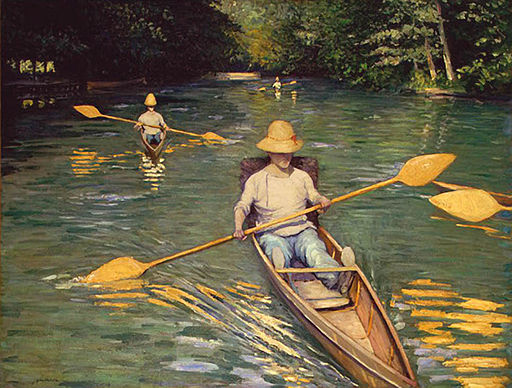 """Skiffs on the Yerres"" by Gustave Caillebotte"