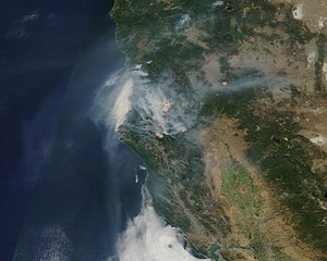 2015 California wildfires - Smoke from the 2015 California wildfires as seen from space, on August 18, 2015