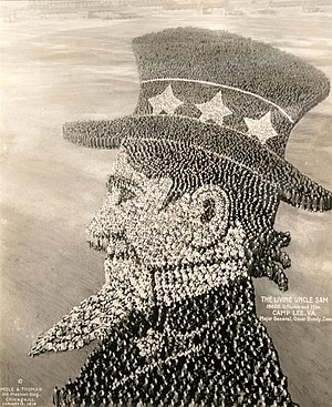 "Fort Lee (Virginia) - ""The Living Uncle Sam"" formed by 19,000 military officers and men at Camp Lee, Virginia in 1918, during World War I"