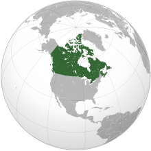 Projection of North America with Canada in green
