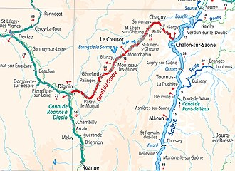 Canal du Centre (France) - Location of the Canal du Centre in relation to the other waterways of central France (from European Waterways Map and Directory, 5th ed., 2014, by David Edwards-May, publ. Transmanche)