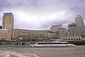 Canary Wharf Pier - A Thames Clipper catamaran calls at Canary Wharf Pier