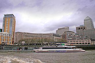 Canary Wharf Pier - A Thames Clipper catamaran calls at Canary Wharf Pier