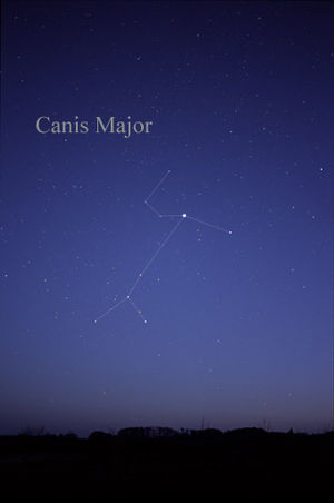 Sothic cycle - Sirius as the brightest star in the constellation Canis Major as observed from the Earth (lines added for clarity).