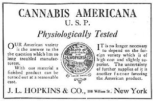 History of medical cannabis - An advertisement for cannabis americana distributed by a pharmacist in New York in 1917