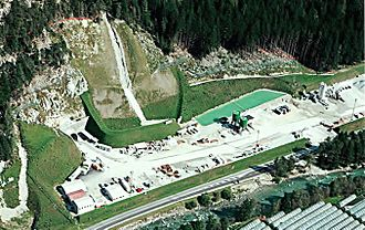 Brenner Base Tunnel - View of Mauls/Mules construction site in summer of 2008