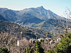 Carpineto - Castagniccia village in Carpineto, with Carcheto and Monte San Petrone in the background