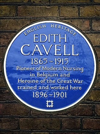 Royal London Hospital - Plaque commemorating Edith Cavell's work at the hospital