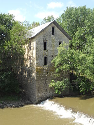 Cedar Point, Kansas - North side of 1875 Cedar Point Mill next to Cottonwood River (2012)