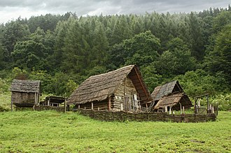 Archaeological open-air museum - Archaeological Open-Air Museum Liptovska Mara - Havránok, Slovakia, Reconstructed shape of a farmstead from the Upper Iron Age (300-100 B.C.)