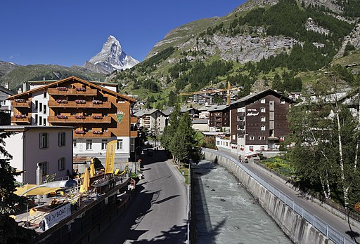 Central Zermatt and Matter Vispa river, Wallis, Switzerland, 2012 August