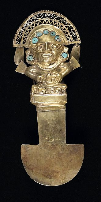 Tumi - Early/Middle Sican Tumi knife, 750-1100 AD, held at the Birmingham Museum of Art, it portrays the Sican Lord who abruptly disappeared from Sican art in the Late Sican phase (1100-1375)