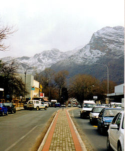 Town centre of Ceres with its main street on a winter's day